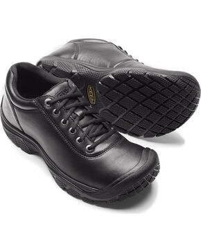 Keen Men's Black PTC Waterproof Work Oxford Shoes , Black, hi-res