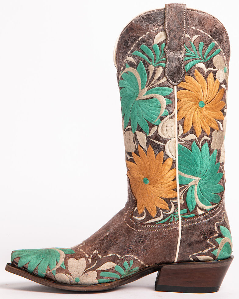 Roper Women's Floral Bouquet Embroidered Cowgirl Boots - Snip Toe, Brown, hi-res
