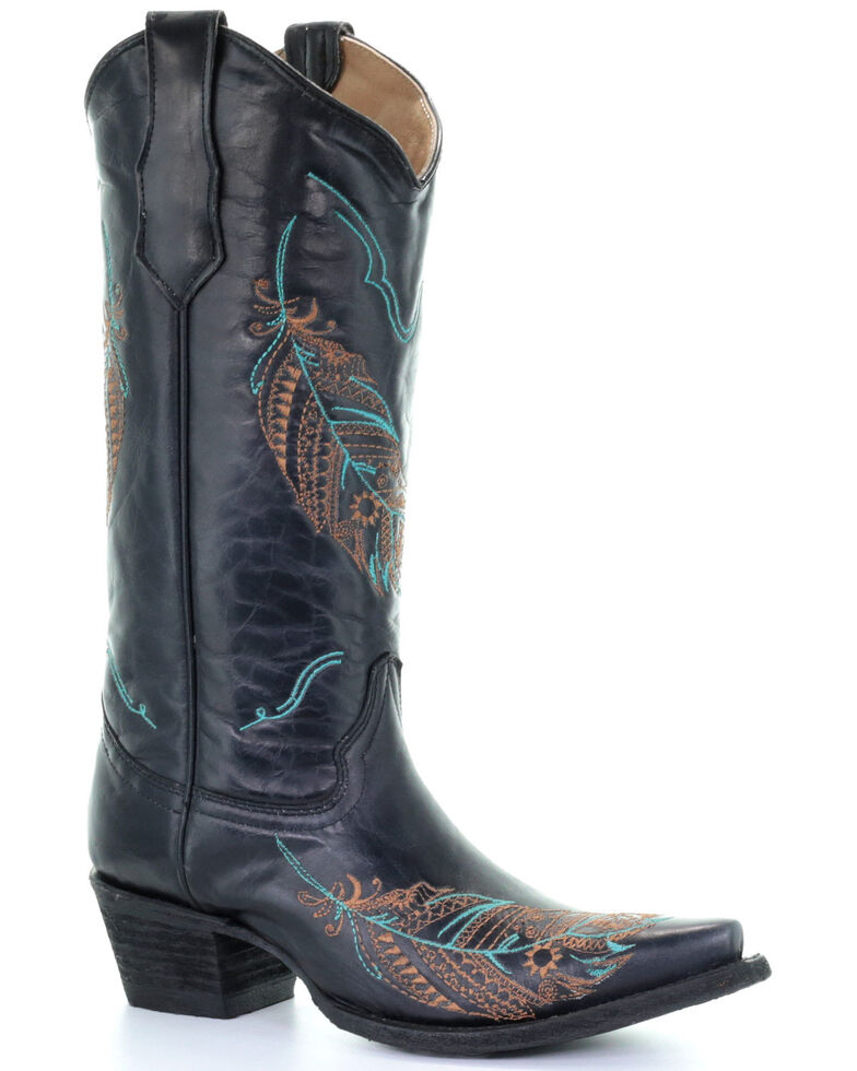 Circle G Women's Black Feather Embroidery Western Boots - Snip Toe, Black, hi-res