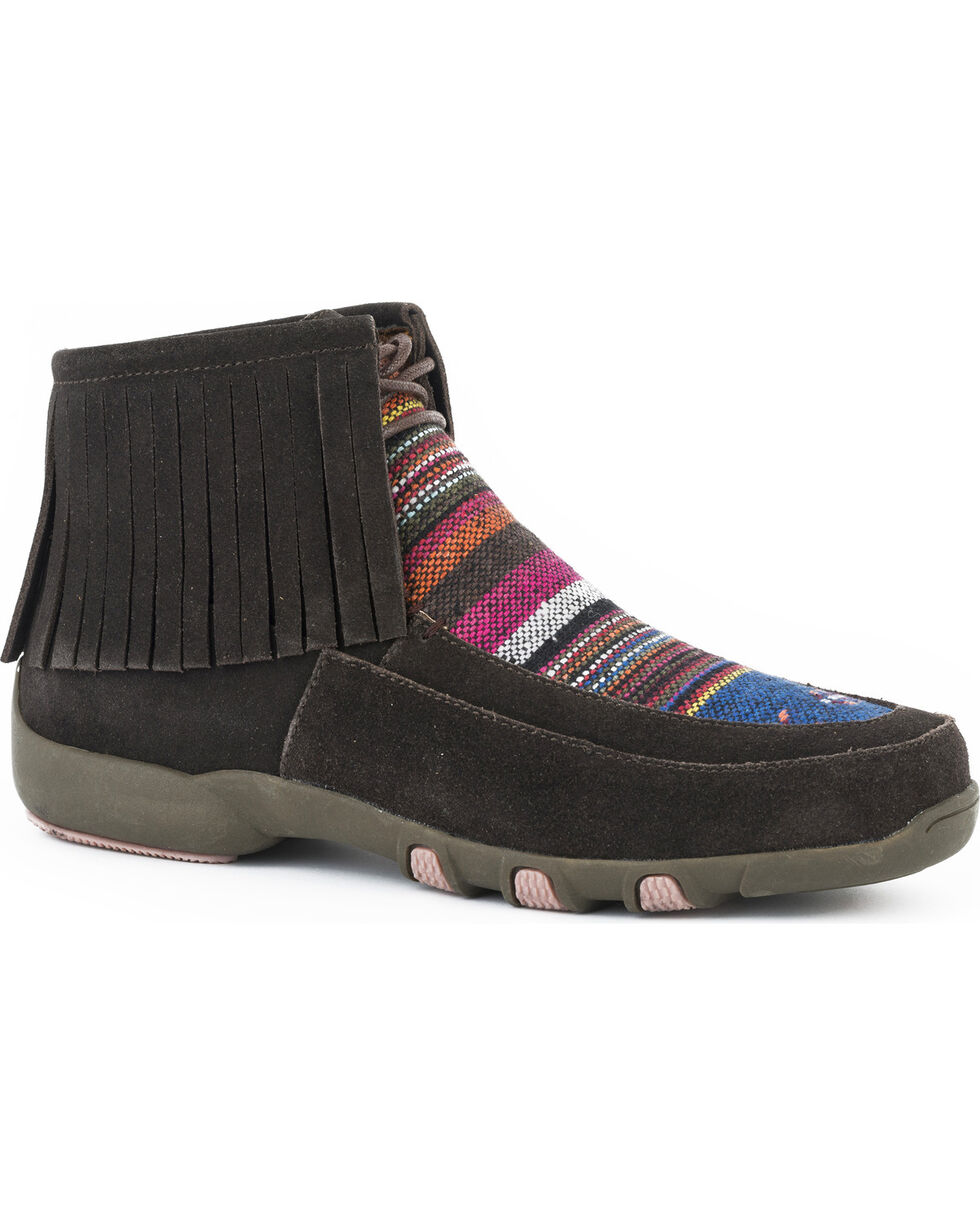 Roper Women's Suede Fringe Serape Shoes , Brown, hi-res