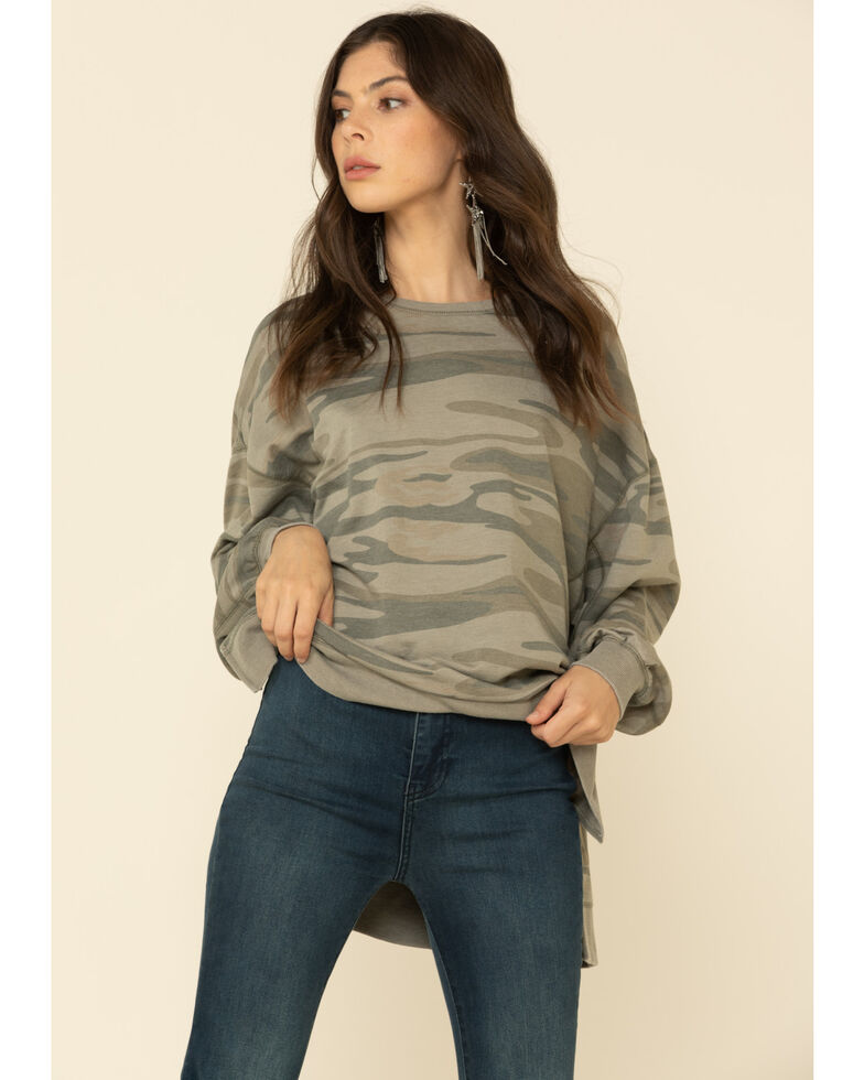 Z Supply Women's Modern Camo Weekender Sweatshirt , Camouflage, hi-res