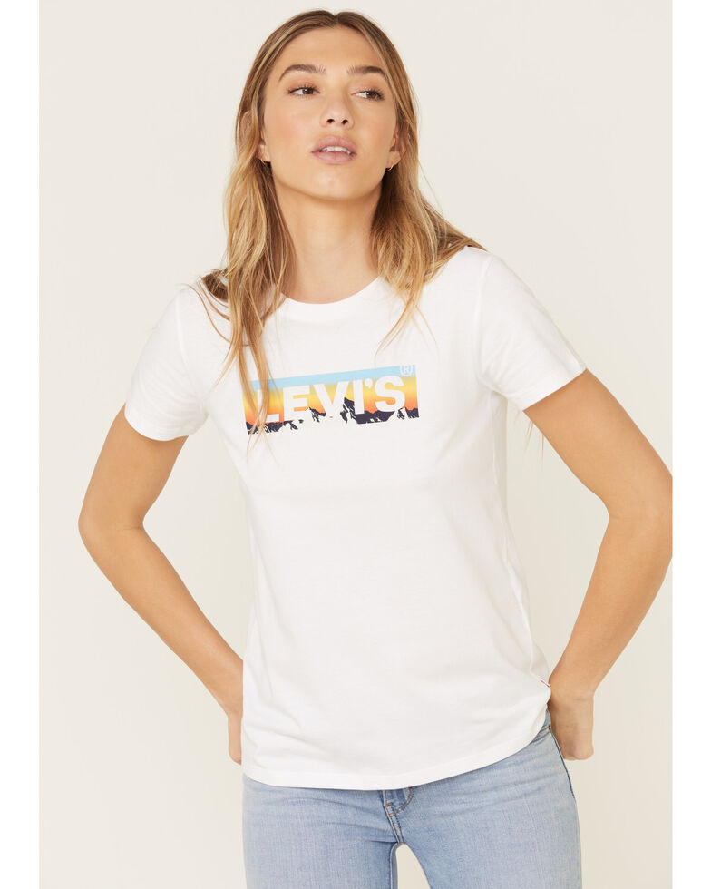 Levi's Women's White Sunset Logo Graphic Tee , White, hi-res