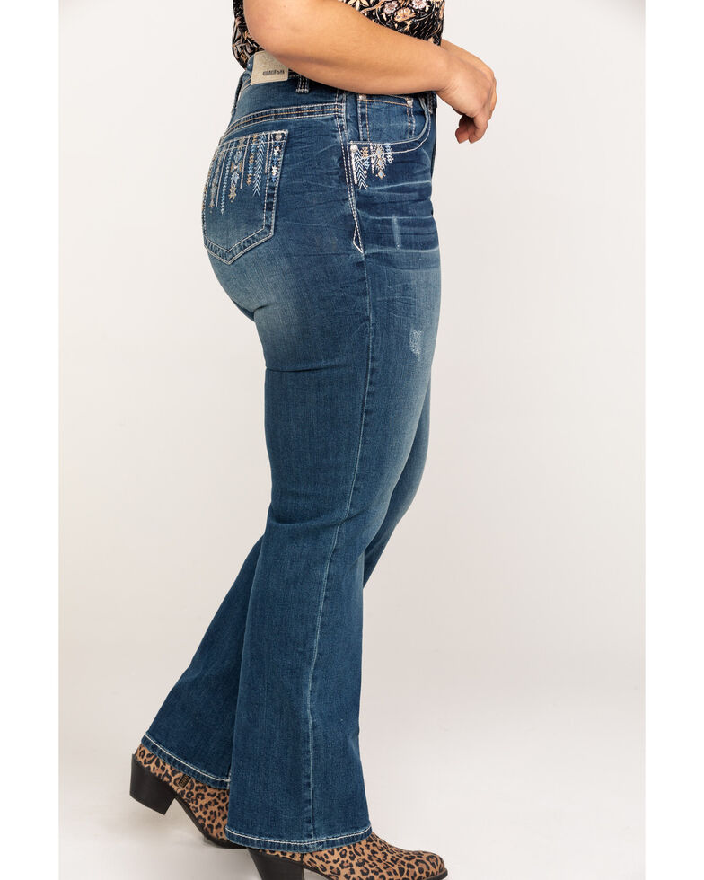 Grace in LA Women's Embroidered Straight Jeans - Plus , Blue, hi-res