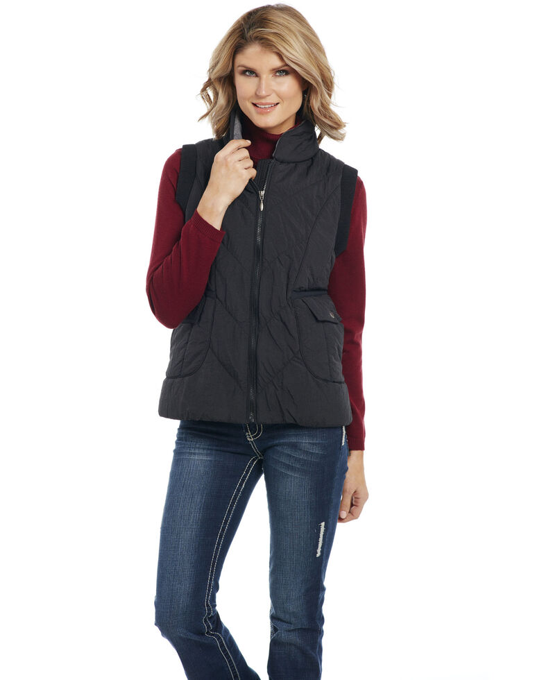Cripple Creek Women's Black Water Repellent Vest , Black, hi-res