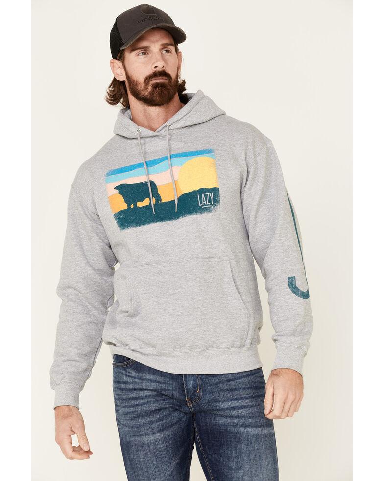 Lazy J Ranchwear Men's Sunset Sky Patch Graphic Hooded Sweatshirt , Grey, hi-res