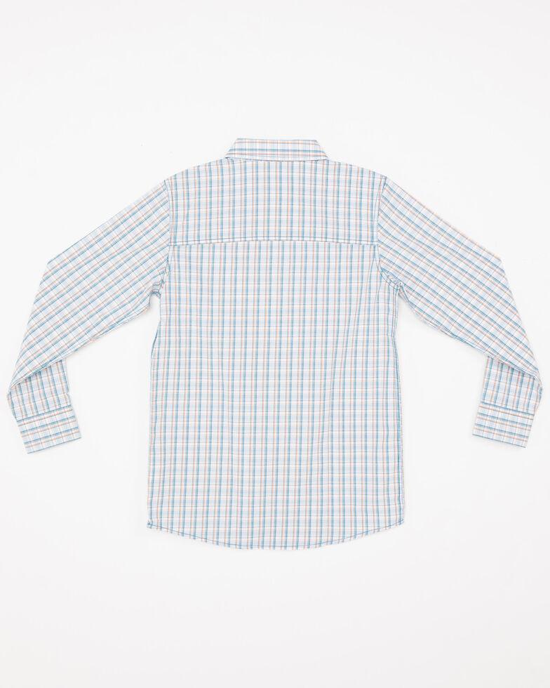 Cody James Boys' Galena Small Plaid One Pocket Long Sleeve Western Shirt , Blue, hi-res