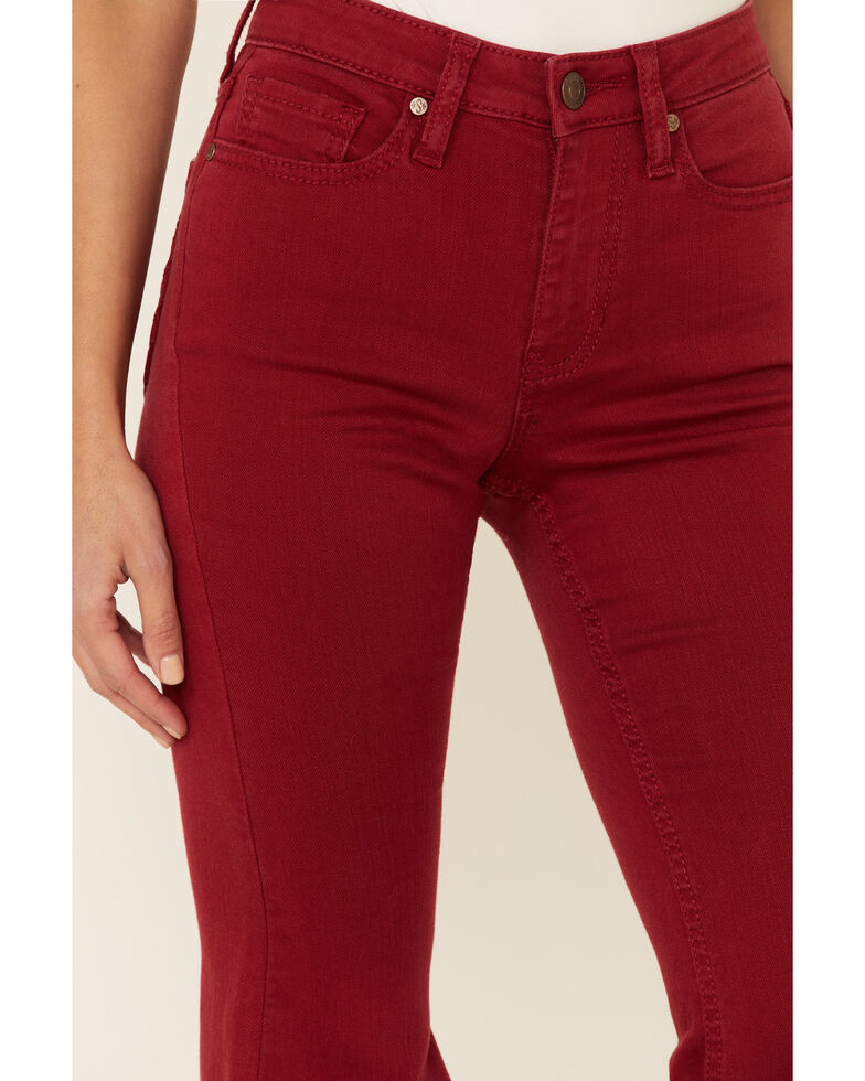 Shyanne Women's Red Seamed Pocket Flare Jeans, Red, hi-res
