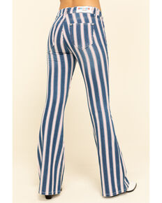 Grace in LA Women's Medium Flare Stripe Jeans , Blue, hi-res