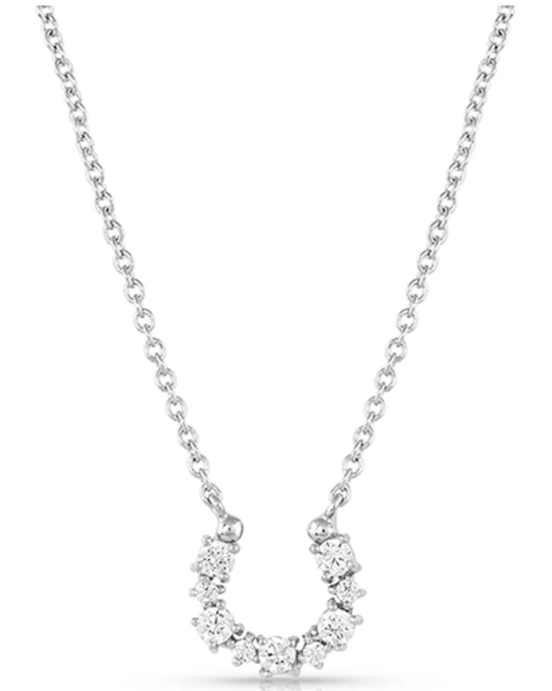 Montana Silversmiths Women's Crystal Clear Lucky Horseshoe Necklace, Silver, hi-res