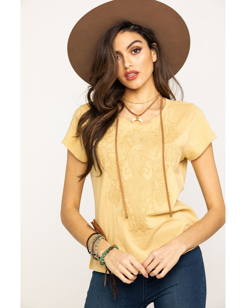 Shyanne Women's Mustard Applique Tee, Dark Yellow, hi-res