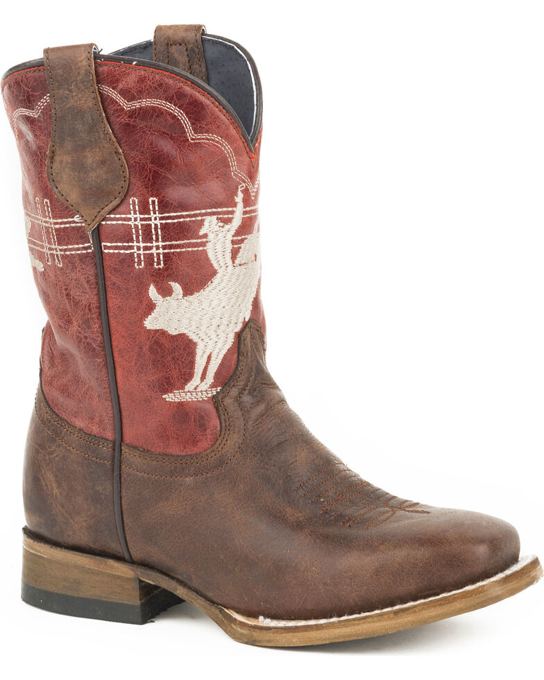 Roper Boys' Bull Rider Embroidered Cowboy Boots - Square Toe, Brown, hi-res