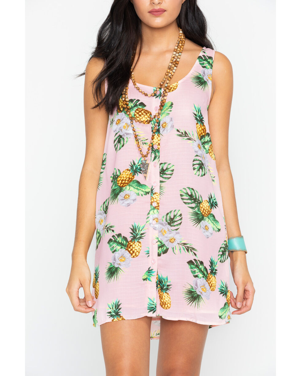 Sadie and Sage Women's Betty Pineapple Button Front Mini Dress , Pink, hi-res