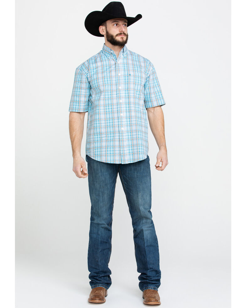 Stetson Men's Blue Small Plaid Short Sleeve Western Shirt , Blue, hi-res