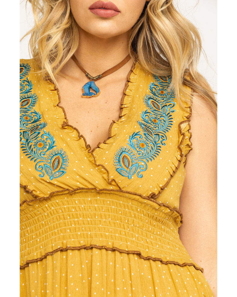 Mystree Women's Mustard Floral Embroidered Surplice Smocked Maxi Dress, Dark Yellow, hi-res