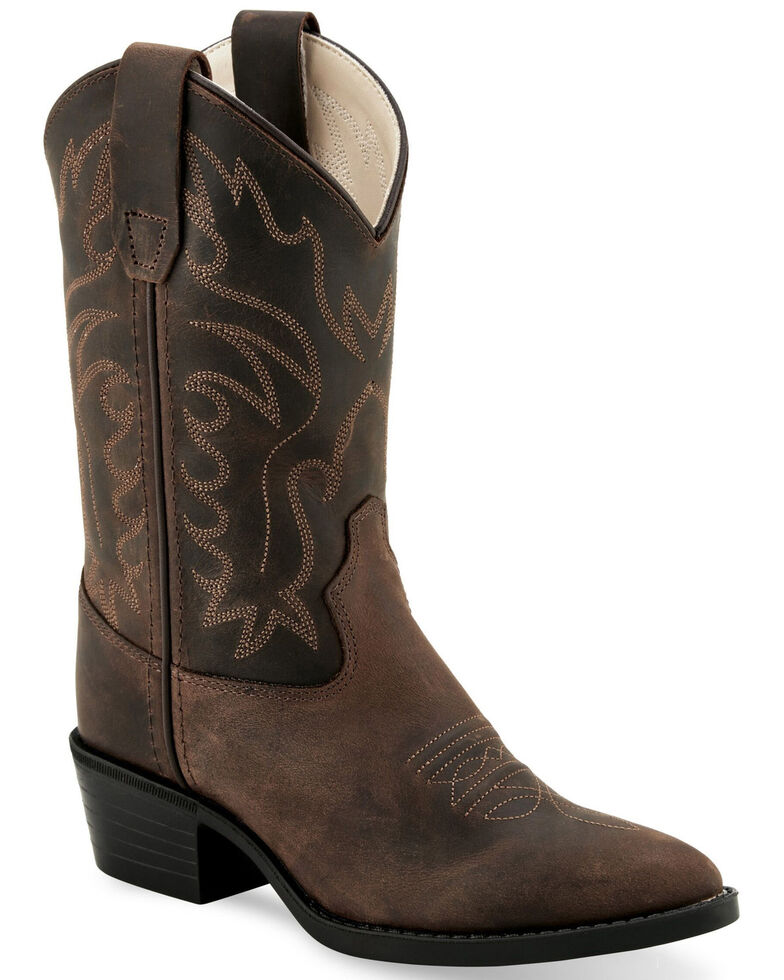 Old West Girls' Borwn Western Boots - Medium Toe, Brown, hi-res