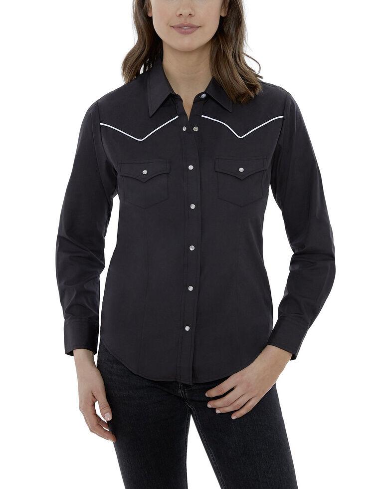 Ely Cattleman Women's Black Piping Long Sleeve Western Shirt - Plus, Black, hi-res