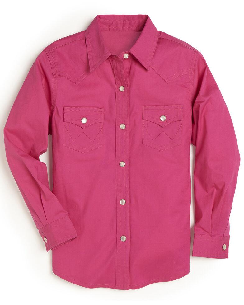 Wrangler Girls' Hot Pink Snap Long Sleeve Western Shirt , Pink, hi-res