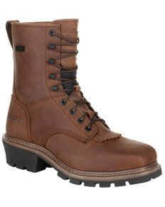Rocky Men's Waterproof Logger Boots - Soft Toe, Dark Brown, hi-res