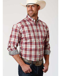 Roper Amarillo Men's Vintage Red Plaid Long Sleeve Western Shirt , Red, hi-res