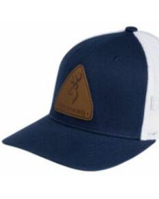 Browning Men's Blue & White Slug Leather Logo Patch Mesh-Back Trucker Cap , Blue, hi-res