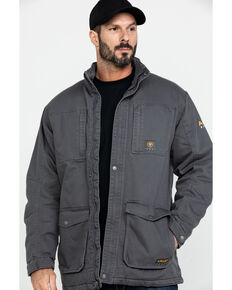 Ariat Men's Rebar Washed Dura Canvas Insulated Work Coat - Big & Tall , Grey, hi-res