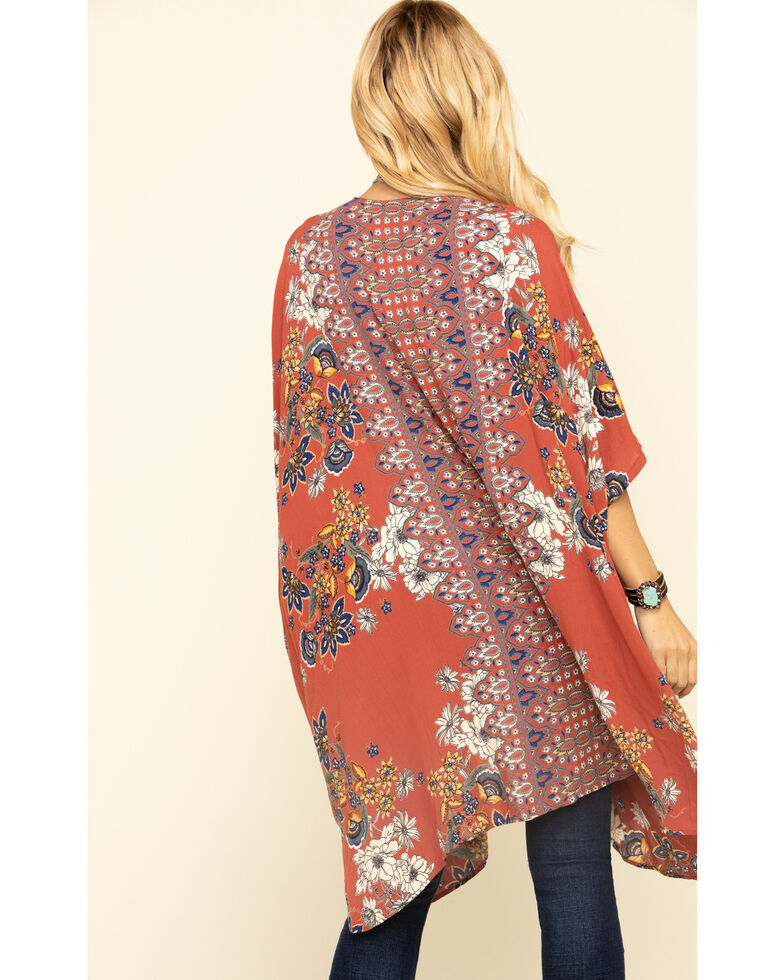 Angie Women's Rust Brick Floral Kimono , Rust Copper, hi-res