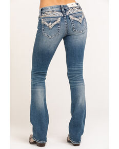 Miss Me Women's Medium Embellished Wing Bootcut Jeans, Blue, hi-res