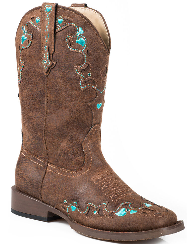 Roper Girls' Vintage Crystal Cowgirl Boots - Square Toe, Brown, hi-res
