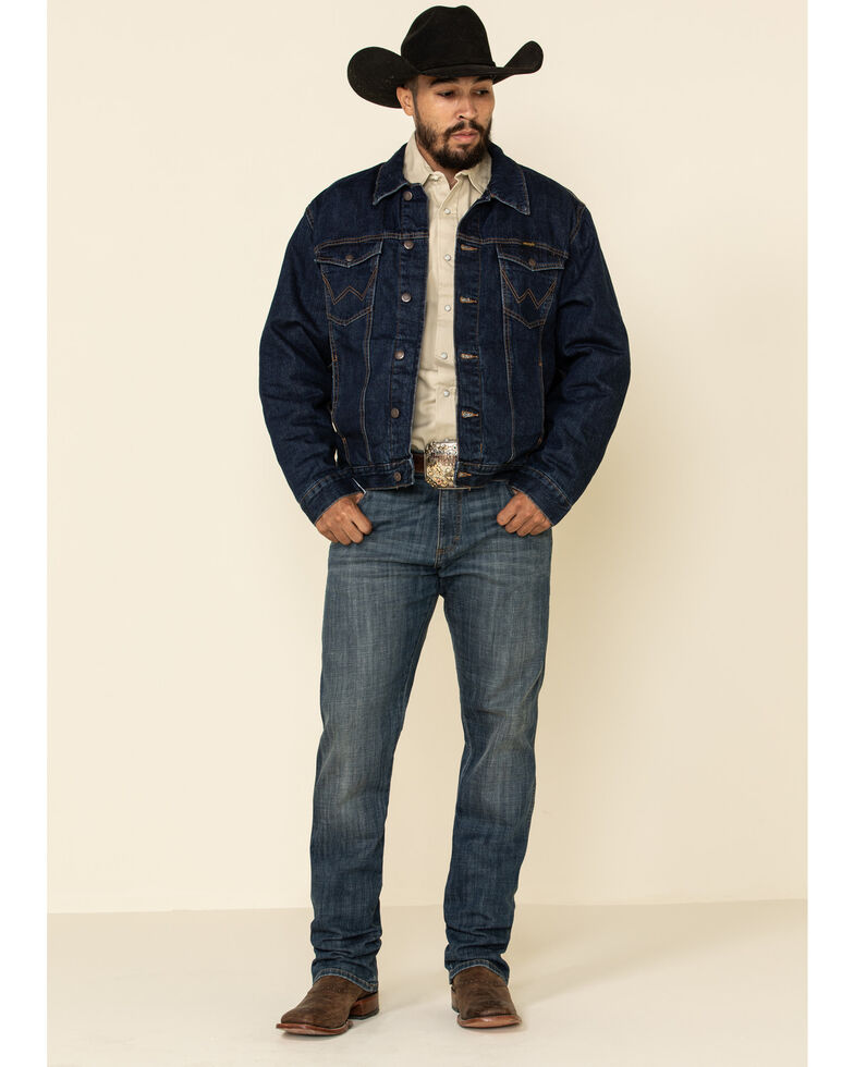 Wrangler Men's Faded Indigo Plaid Lined Denim Jacket , Blue, hi-res