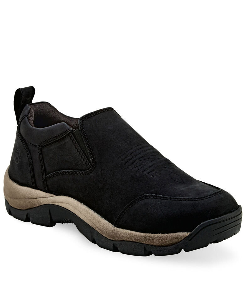 Old West Men's Leather Casual Shoes - Round Toe, Black, hi-res