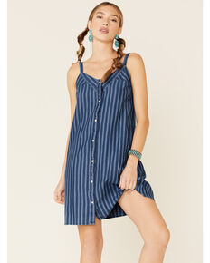 Wrangler Women's Americana Button Front Dress, Blue, hi-res
