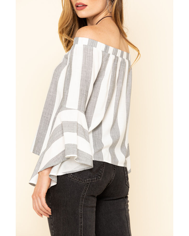 Shyanne Women's Stripe Off The Shoulder Bell Sleeve Top, Black, hi-res