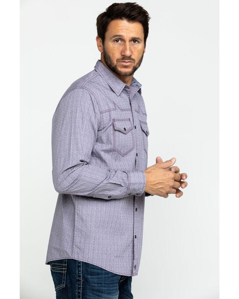 Moonshine Spirit Men's Sundowner Dobby Plaid Long Sleeve Western Shirt , Burgundy, hi-res