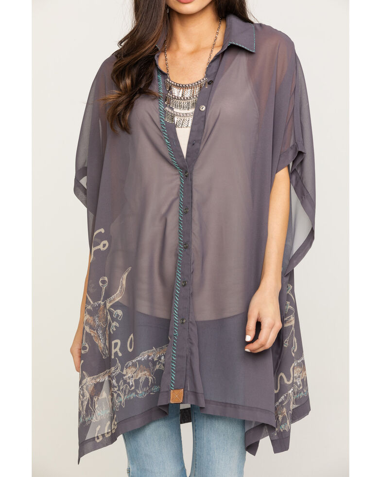 Double D Ranch Women's Branding Season Poncho, Grey, hi-res
