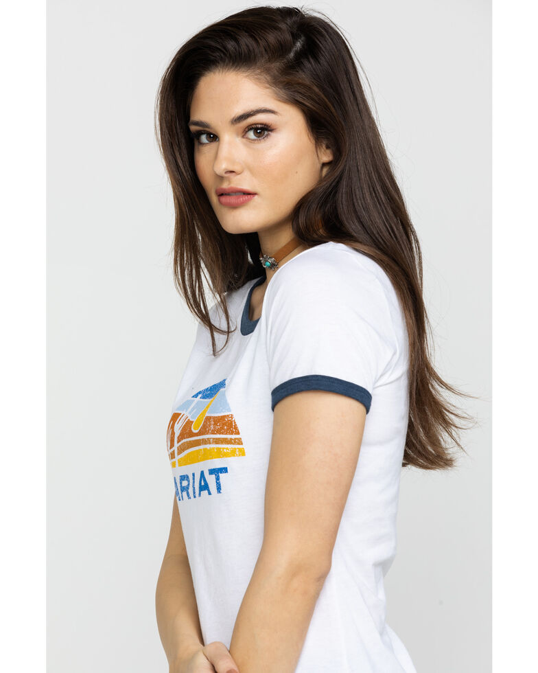 Ariat Women's Retro Desert Ringer Tee , White, hi-res
