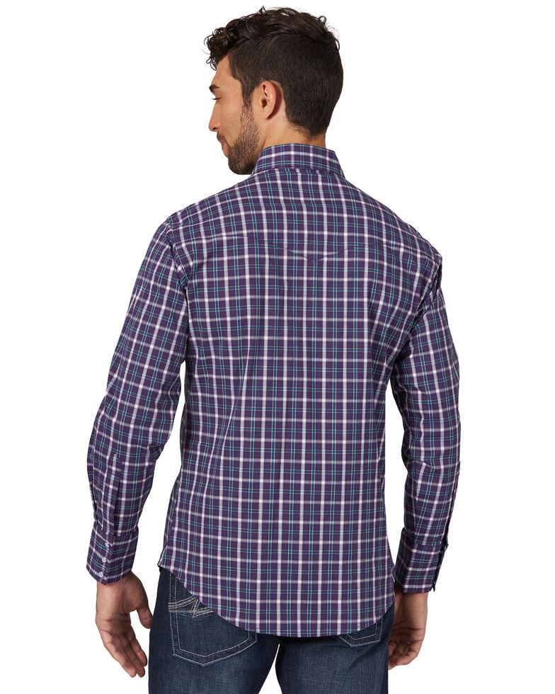 Wrangler Men's Purple Wrinkle Resist Med Plaid Long Sleeve Western Shirt , Purple, hi-res