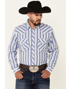 Wrangler 20X Men's Blue Stripe Long Sleeve Snap Western Shirt , Blue, hi-res