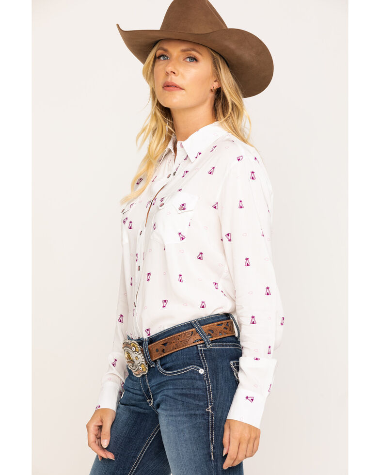 Cruel Girl Women's White Teepee Print Snap Long Sleeve Western Shirt , White, hi-res