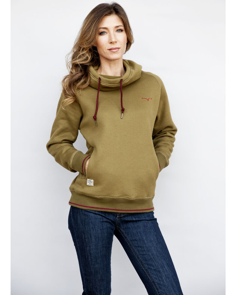 Kimes Ranch Women's Charcoal Scooper Hoodie , Olive, hi-res