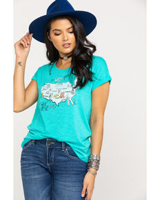 Ariat Women's USA Map Tee, Aqua, hi-res
