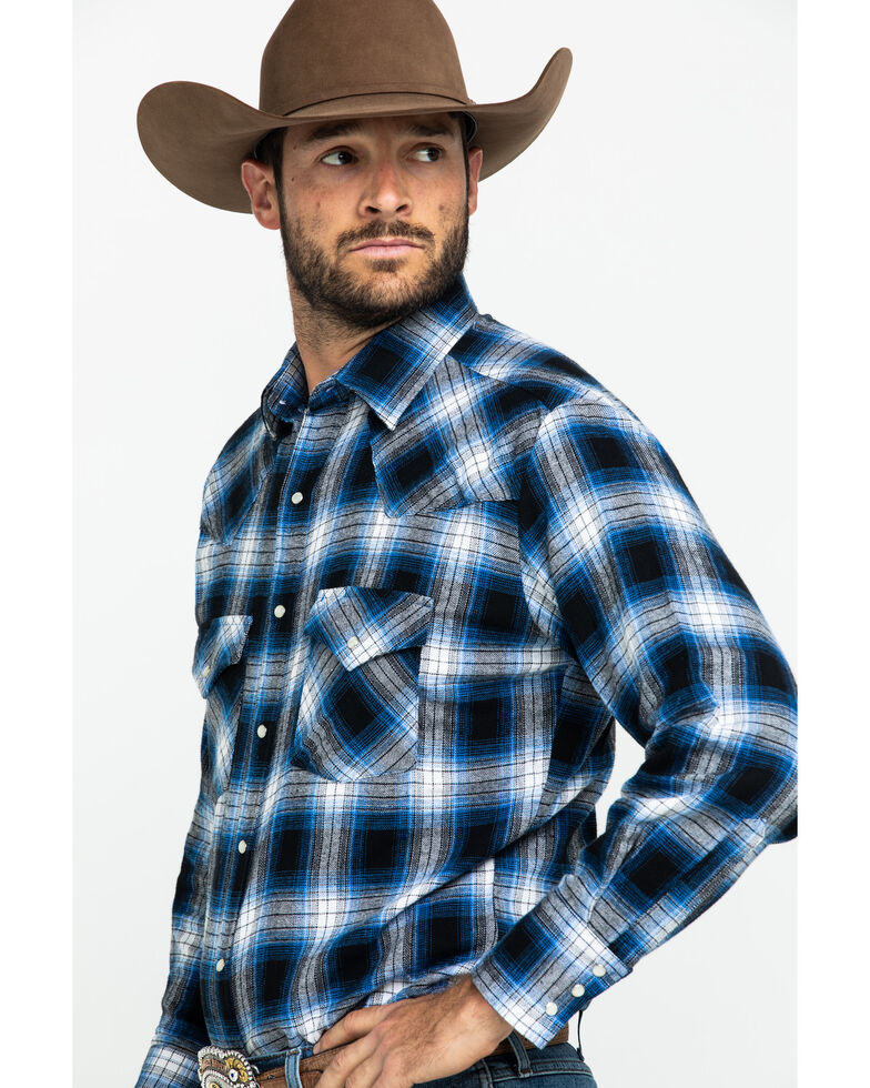 Ely Cattleman Men's Large Plaid Snap Long Sleeve Western Flannel Shirt , Blue, hi-res