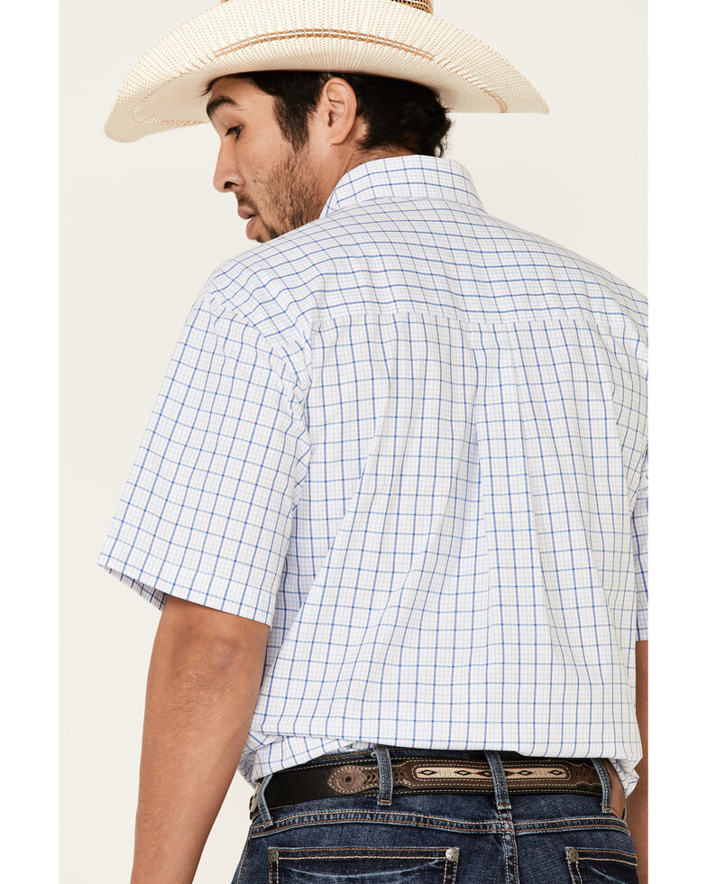 George Strait By Wrangler Men's White Small Plaid Short Sleeve Western Shirt , White, hi-res