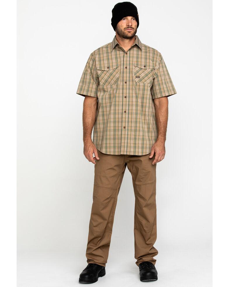 Ariat Men's Tan Plaid Rebar Made Tough Short Sleeve Work Shirt, Beige/khaki, hi-res
