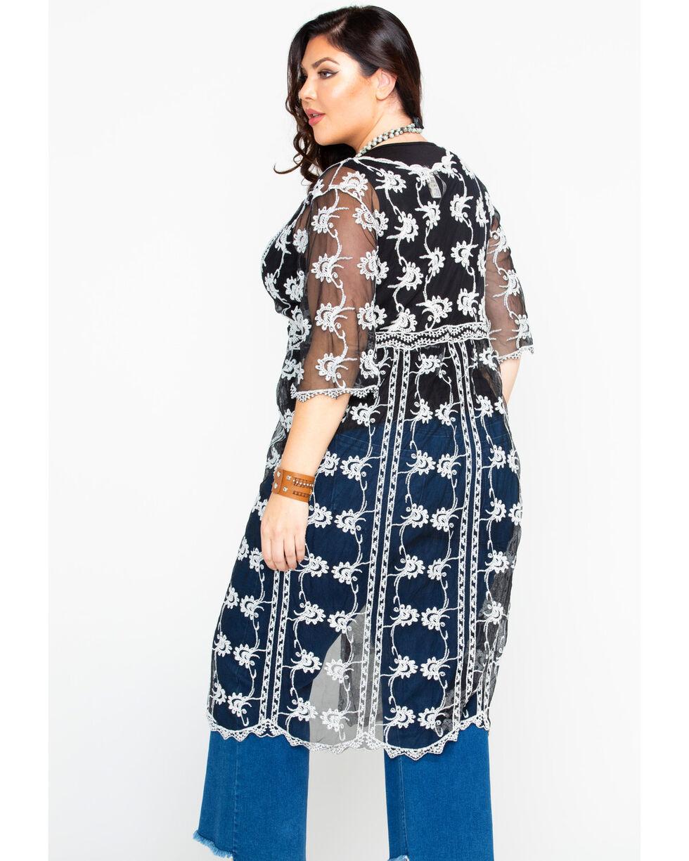 Forgotten Grace Women's Black & White Lace Tie Front Duster Kimono - Plus, Black/white, hi-res