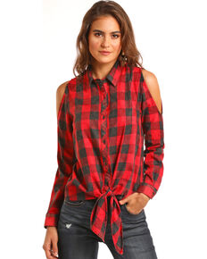 Rock & Roll Cowgirl Buffalo Plaid Cold Shoulder Top, Red, hi-res