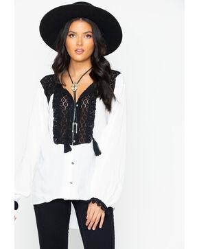 Tasha Polizzi Women's Abigail Faux Silk Lace Trim Long Sleeve Blouse , White, hi-res