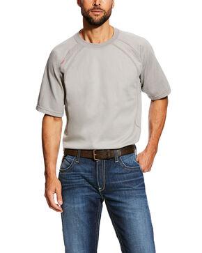Ariat Men's Silver Fox FR Short Sleeve Crew Work Shirt - Tall , Grey, hi-res