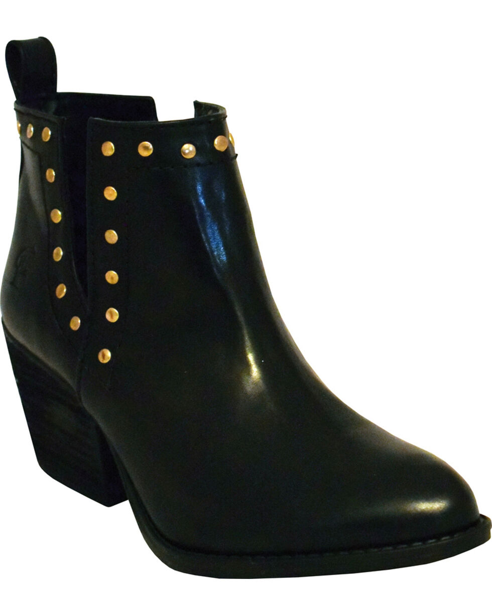 Ferrini Women's Smooth Black Leather Studded Booties - Round Toe, Black, hi-res