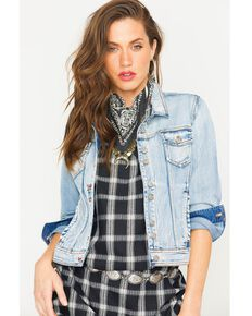 Ryan Michael Women's Denim Double Button Jacket , Indigo, hi-res