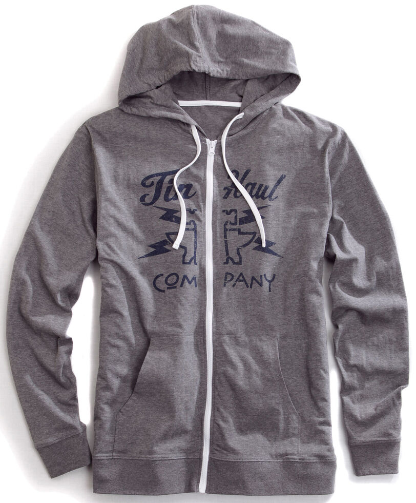 Tin Haul Men's Lightning Bolt Zip-Up Hoodie, Grey, hi-res